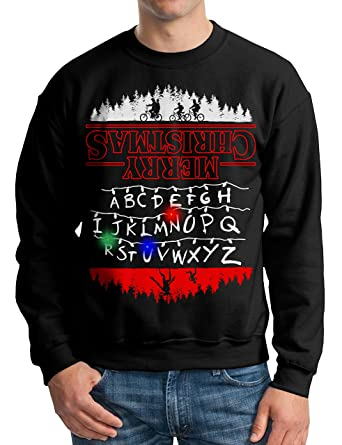 vintage fly adult light up stranger things ugly christmas sweater christmas lights pullover sweatshirt in black