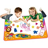 """HapiSimi Aqua Magic Mat, Kids Toys Large Water Drawing Mat Toddlers Painting Board Writing Mats in 6 Colors with 2 Magic Pens and 1 Brush for Boys Girls Educational Gift Size 34.5"""" X 22.5"""""""