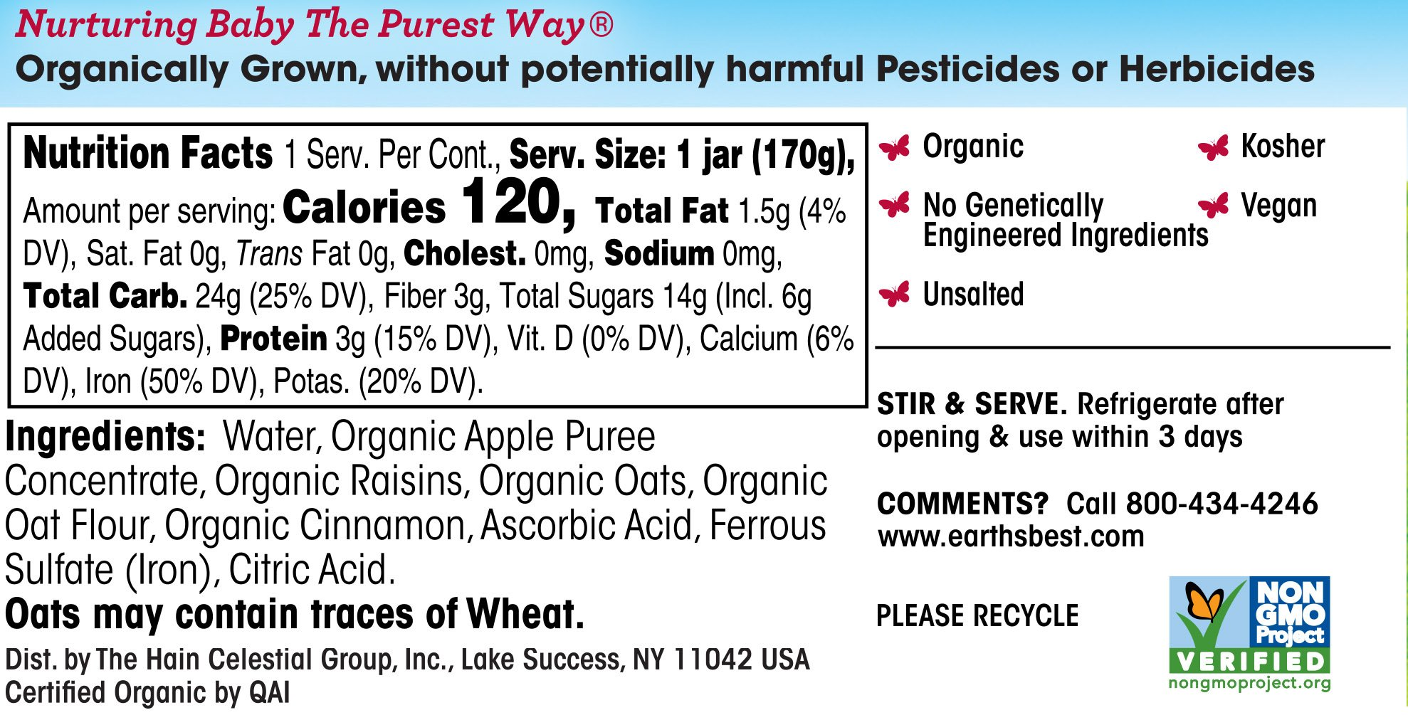 Earth's Best Organic Stage 3, Apple, Cinnamon & Oatmeal, 6 Ounce Jar (Pack of 12) by Earth's Best (Image #3)