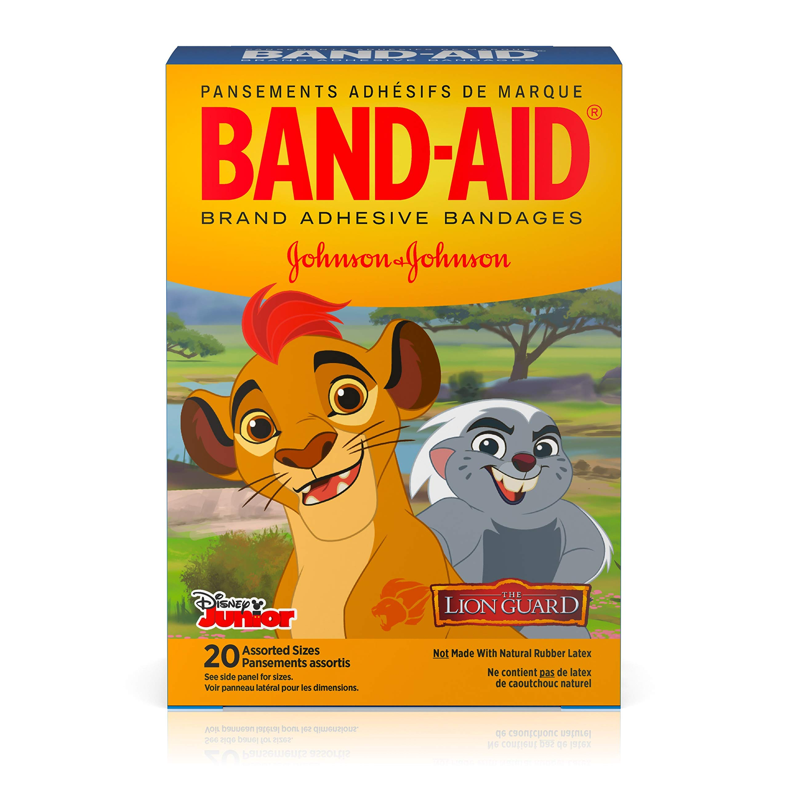 Band-Aid Brand Adhesive Bandages for Minor Cuts and Scrapes, Featuring Disney Junior The Lion Guard Characters for Kids, Assorted Sizes 20 ct