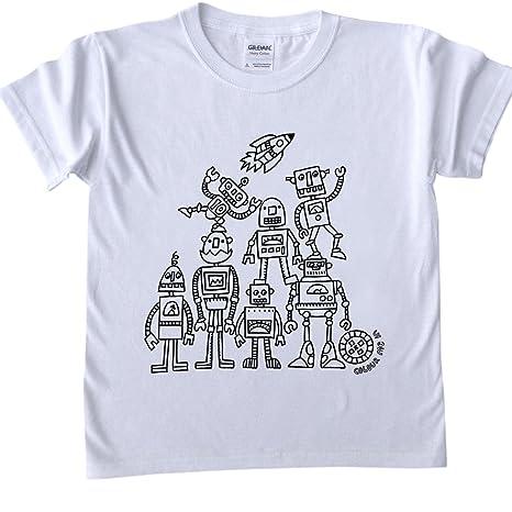 T Shirt Per Bambini Da Colorare Disegno Robot Dimensioni Età 5 6