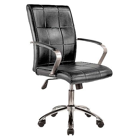 Adec – Colonial, Silla de oficina, sillon de despacho acabado en similpiel color Negro, medidas: 66 x 93-107 cm de alto