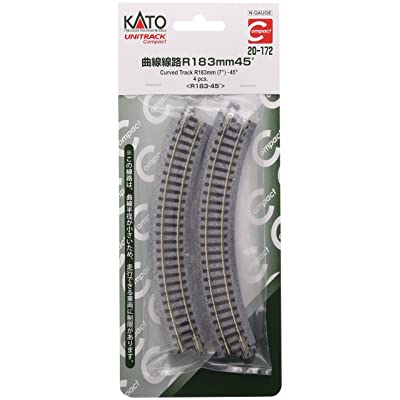 "Kato USA Model Train Products UNITRACK Compact Tracks (4-Piece), 183mm/(7"") Radius/45-Degree: Toys & Games"