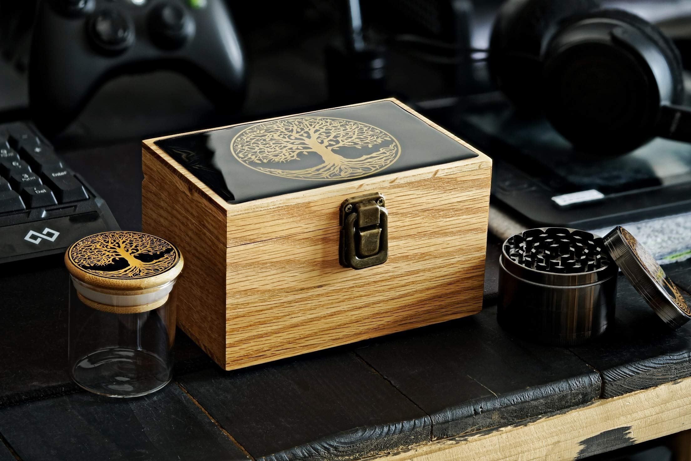 Tree of Life Oak Wood Stash Box Combo - Big Size Titanium 4 Part Herb Grinder - Airtight Wood Lid Glass Stash Jar - Engraved Wood Handmade Decorative Stash Box - Smell Proof and Airtight.