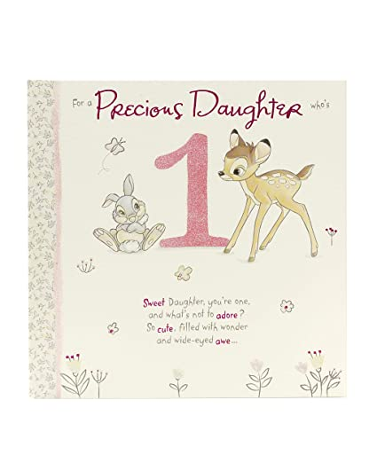 Image Unavailable Not Available For Color Disney Bambi And Thumper Daughter 1st Birthday Card