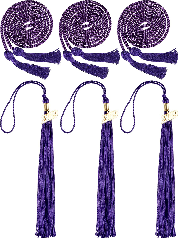 Norme 3 Pieces Graduation Cords Grad Days Honor Cords Graduation Tassel Accessory for High School College Graduation Blue