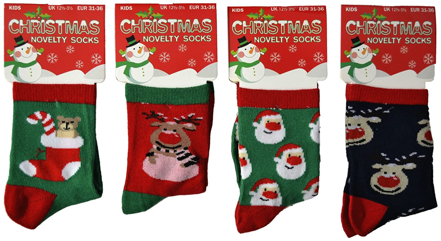 4-6 UK] 4 PAIR MULTIPACK CHILDRENS BOYS GIRLS KIDS CHRISTMAS FESTIVE ...