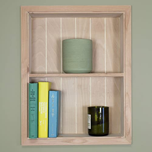 Fox Hollow Furnishings 14×18 Unfinished Sloane Wall Niche w beadboard Back and 1 Shelf