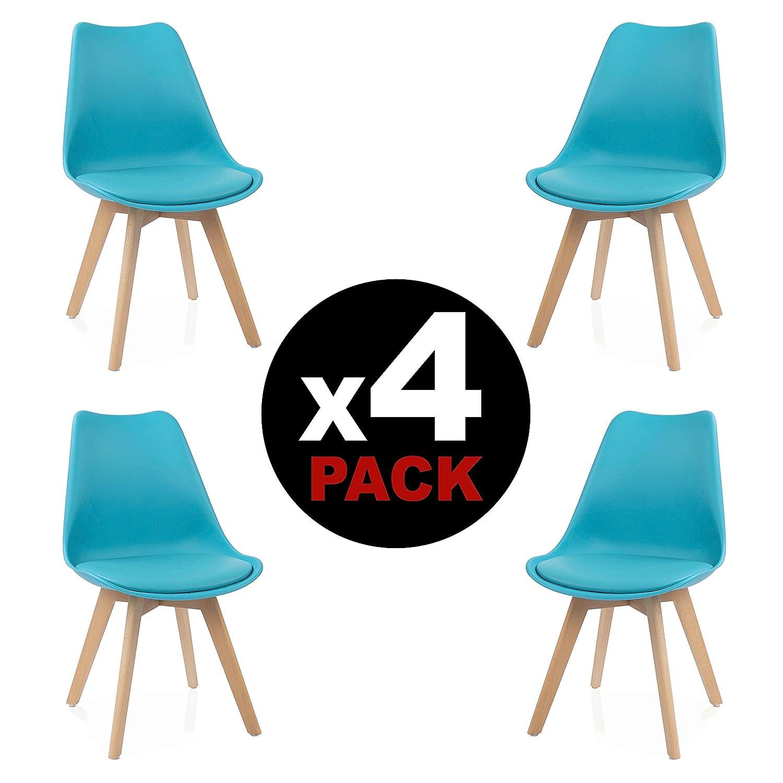 duehome - Beench - Pack de 4 sillas, silla comedor, salón, cocina o escritorio, pata acabado en madera de Haya, medidas: 49 cm x 83x 53.5 cm de fondo ...