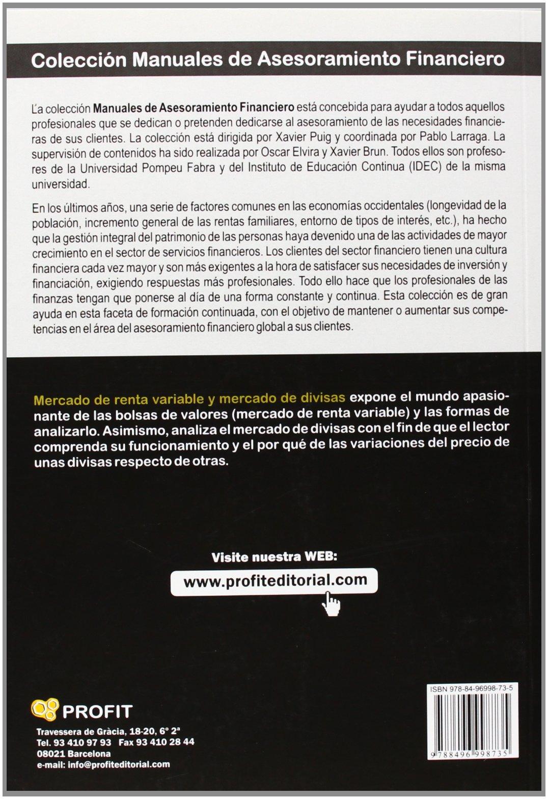 Mercado De Renta Variable Y Mercado De Divisas: Amazon.es: Xavier Brun Lozano, Oscar Elvira Benito, Xavier Puig Pla: Libros