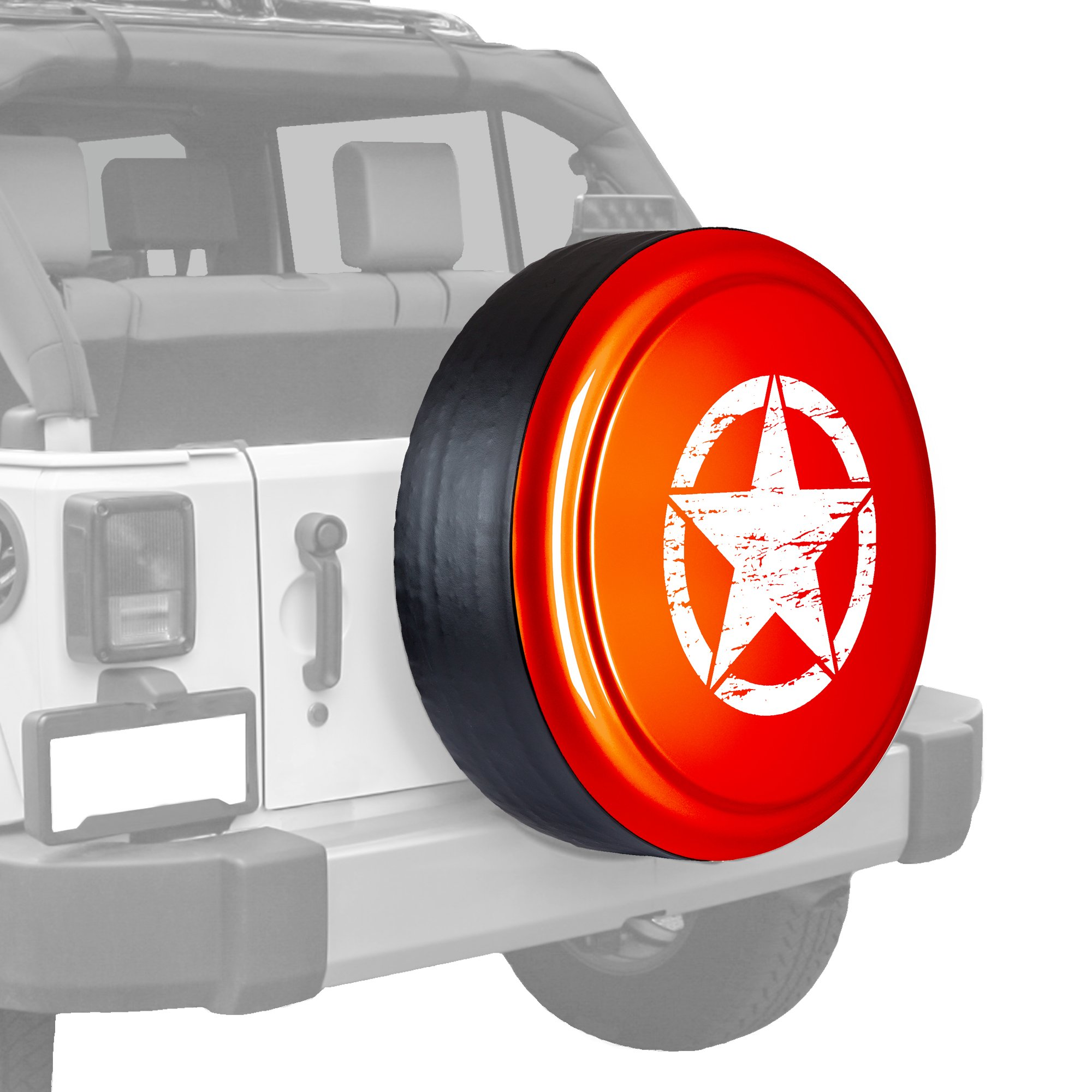 30'' Distressed Star - Color Matched Rigid Tire Cover (Plastic Face & Vinyl Band) - Jeep Wrangler (JK) - Firecracker Red