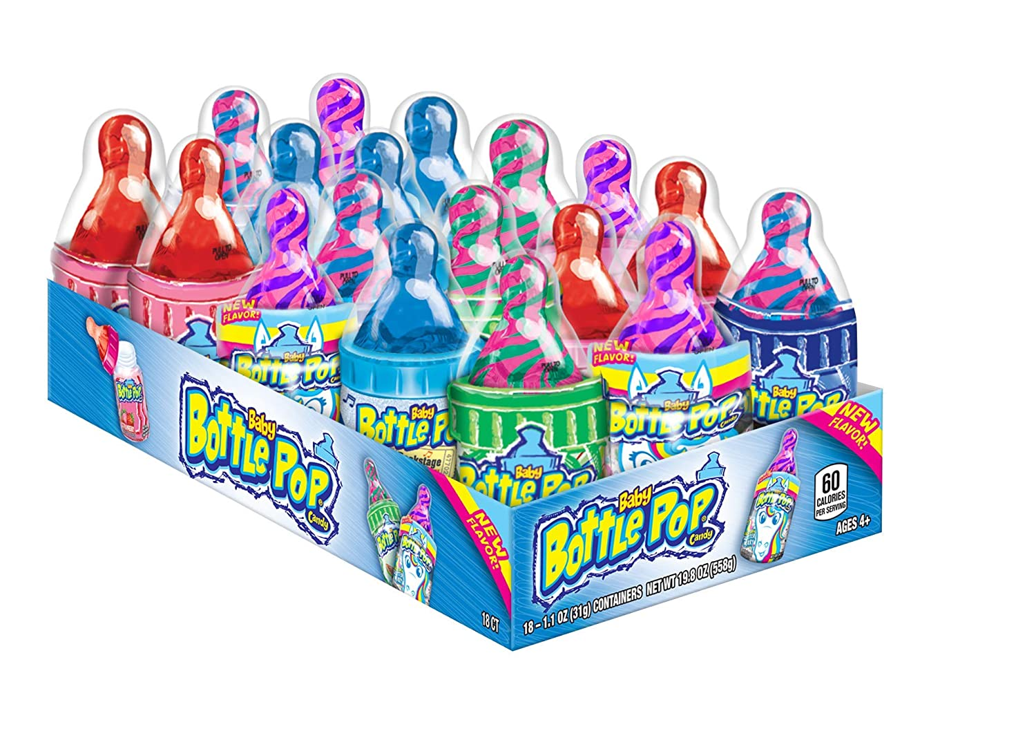 Baby Bottle Pop, Lollipops with Dipping Powder Assorted Flavors 18 pieces, 1.1 oz