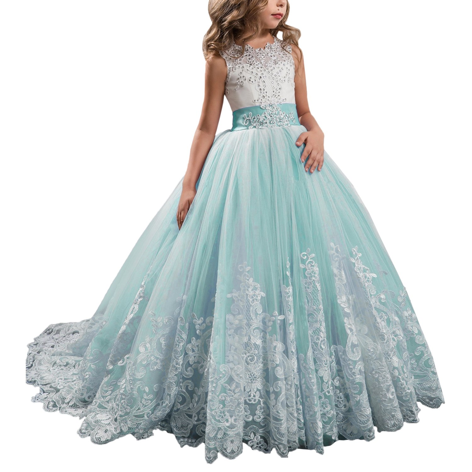 Princess Aqua Long Girls Pageant Dresses Kids Prom Puffy Tulle Ball Gown US 8
