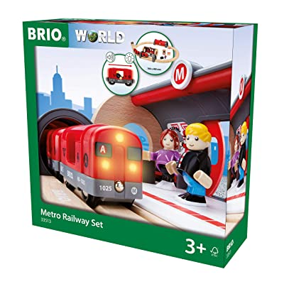BRIO 33513 Metro Railway Set | 20 Piece Train Toy with Accessories and Wooden Tracks for Kids Age 3 and Up: Toys & Games