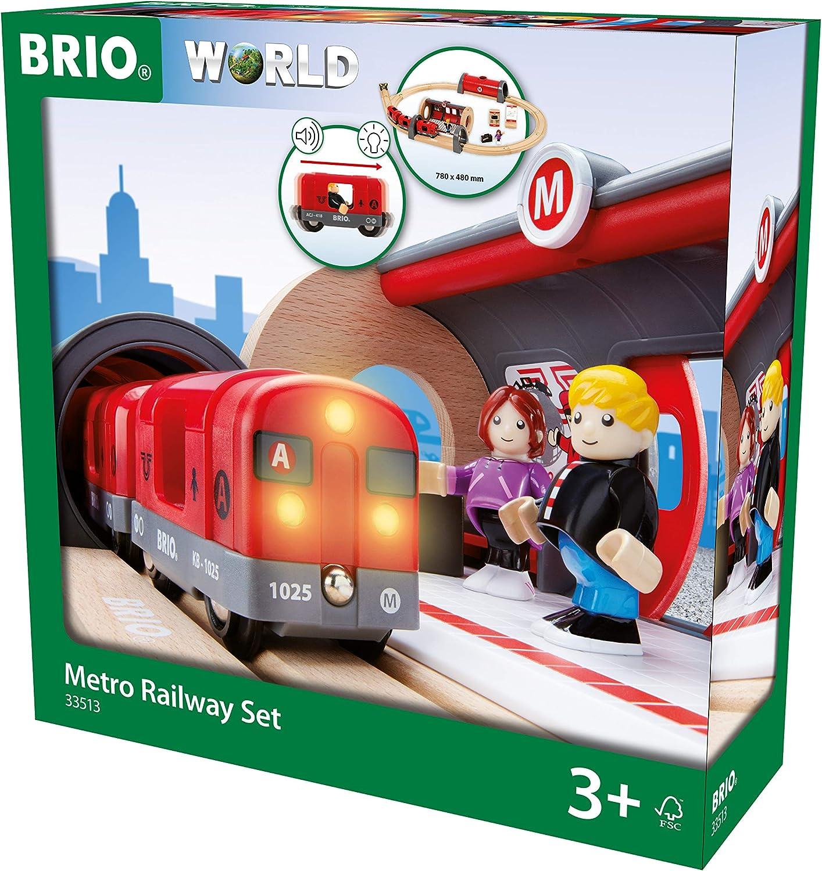 Brio 33513 Metro Railway Satz   20 Piece Train Toy mit Accessories und Wooden Tracks für Kids Alter 3 und Up