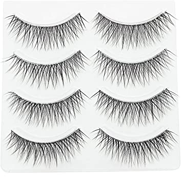 f3150956cbe 3D Wispies Clear Band False Eyelashes Bulk Extensions 4 Pairs Natural Long  Lashes With Volume for