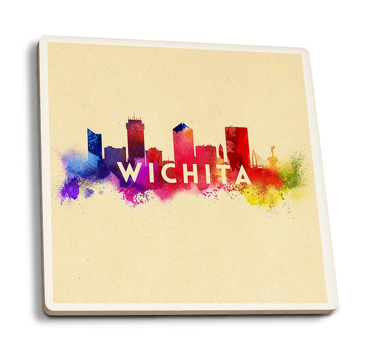 Lantern Press Wichita, Kansas - Skyline Abstract (Set of 4 Ceramic Coasters - Cork-Backed, Absorbent)