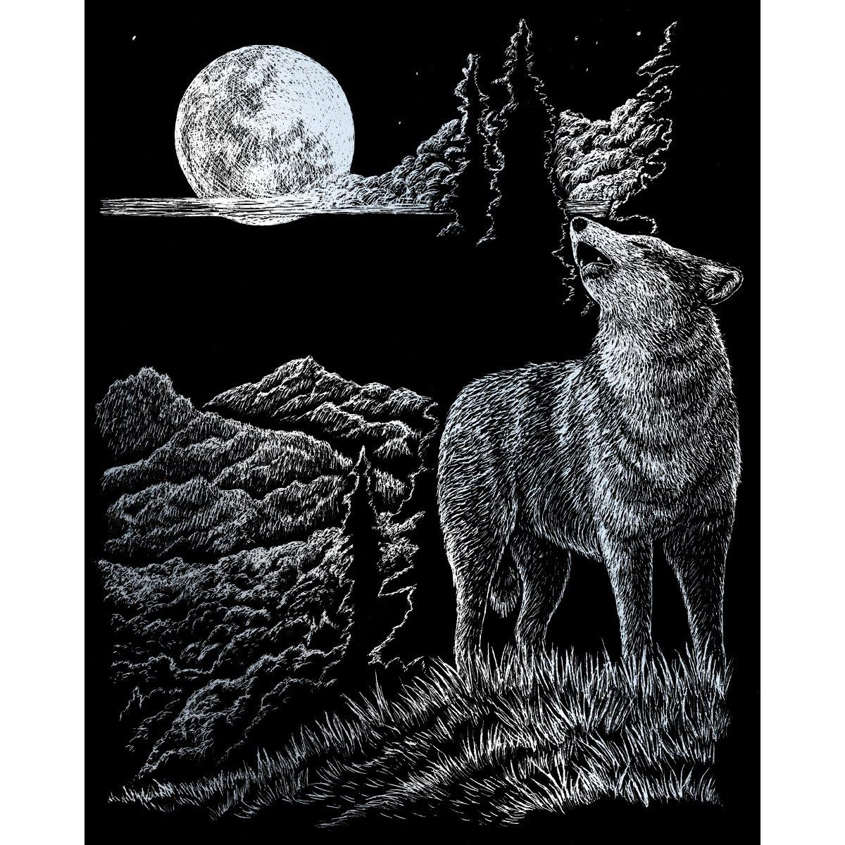 ROYAL BRUSH Silver Foil Engraving Art Kit, 8 10-Inch, Wolf Moon SILVFL-33