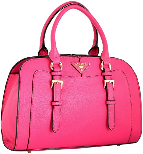 a5ae54bc94 GOURibags Stylish Handbags Shoulder Leather Bag Women Ladies Girl Purse  Office Bag Gift Handbag Pink With Sling Belt  Amazon.in  Shoes   Handbags