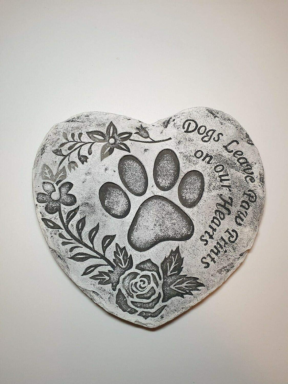 Heart Shape Pet Memorial Plaque Dog Puppy Grave StoneDogs leave paw prints