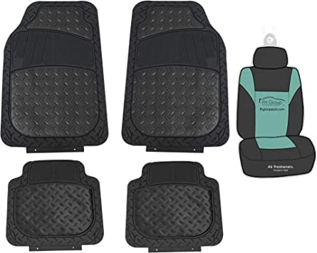 Amazon Com Fh Group F11315 Trimmable Metallic Floor Mats Black Full Set Universal Fit For Cars Trucks And Suvs Automotive