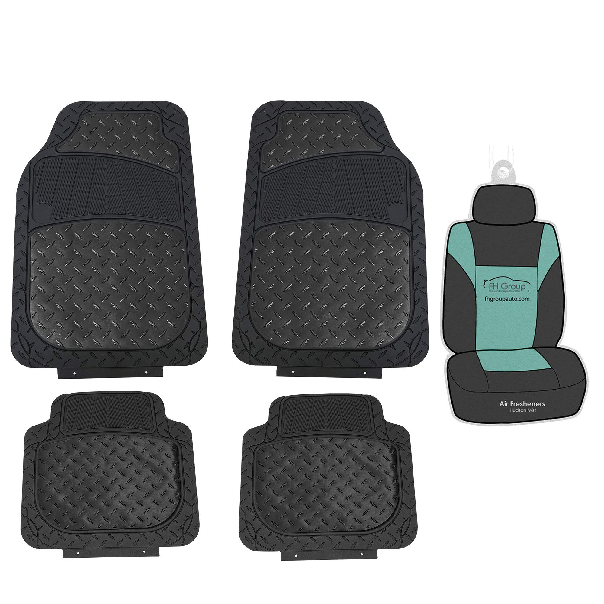 FH Group F11315 Trimmable Metallic Floor Mats (Black) Full Set - Universal Fit for Cars Trucks and SUVs