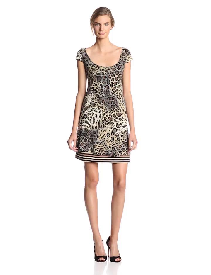 Sangria Women's Short Sleeve Animal Print Shift Dress, Black/Taupe, Medium