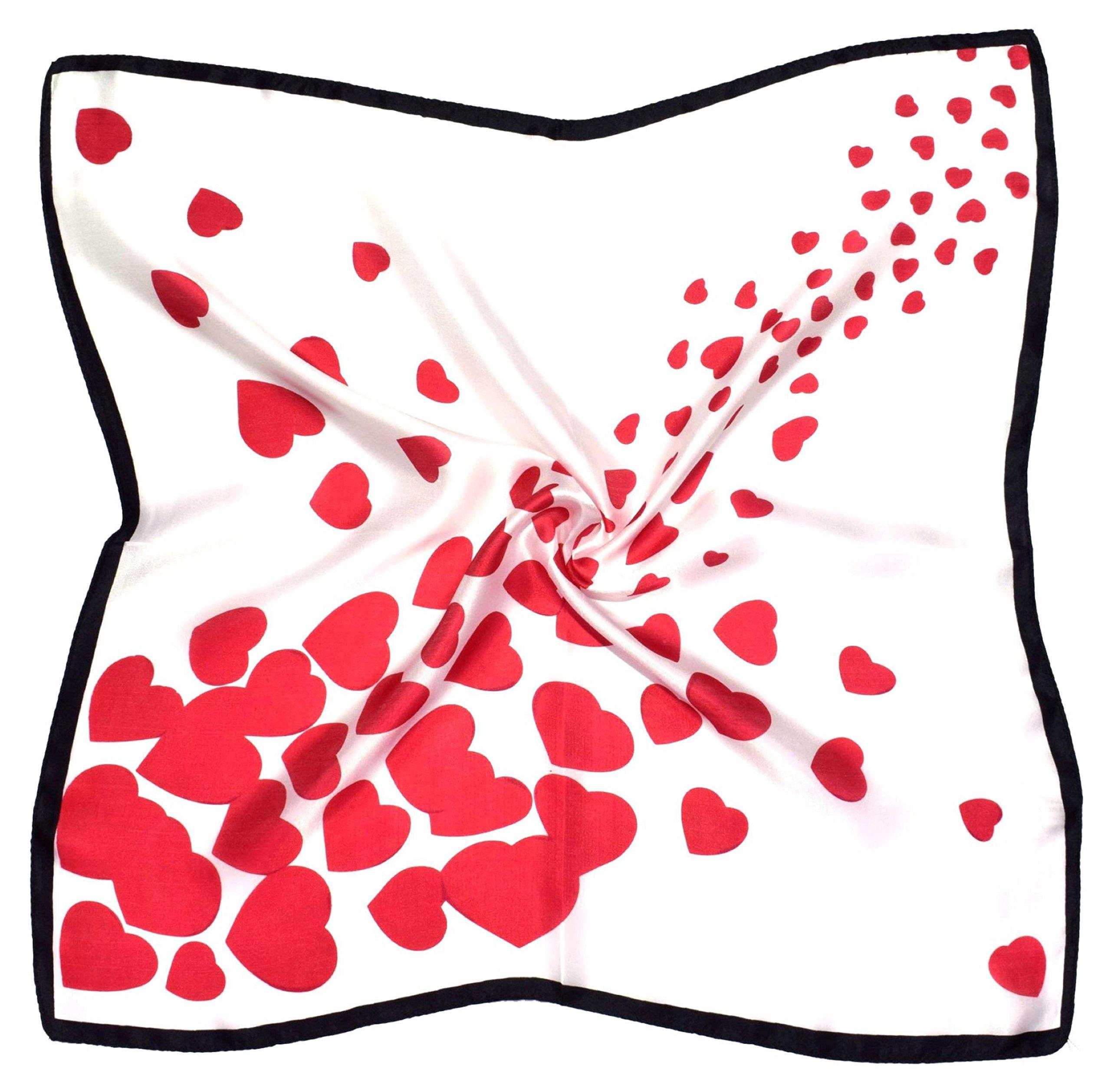 Red White Heart Print Small Fine Square Pure Silk Scarf