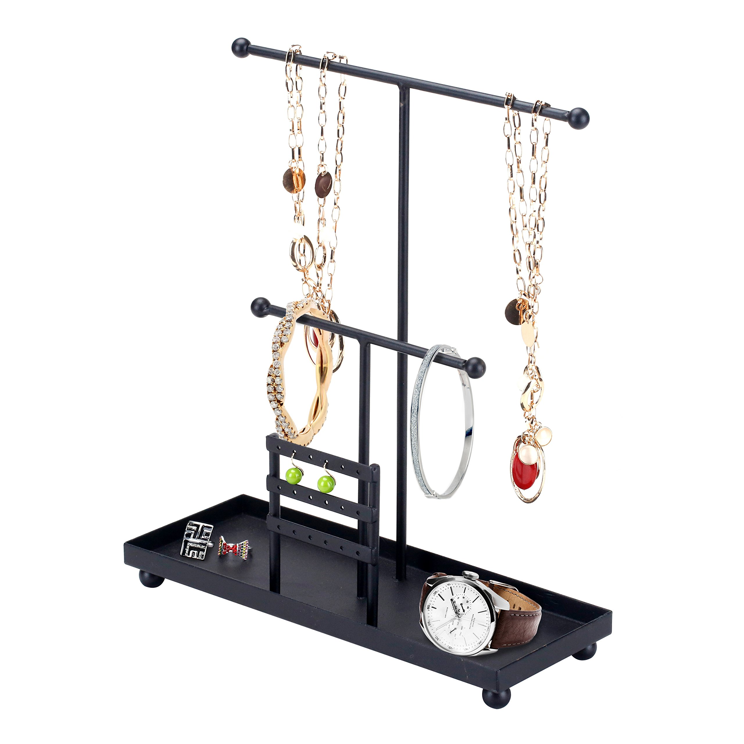 2 T-Bar Modern Metal Jewelry Bracelet, Necklace and Earring Hanger Display Organizer w/ Ring Tray, Black