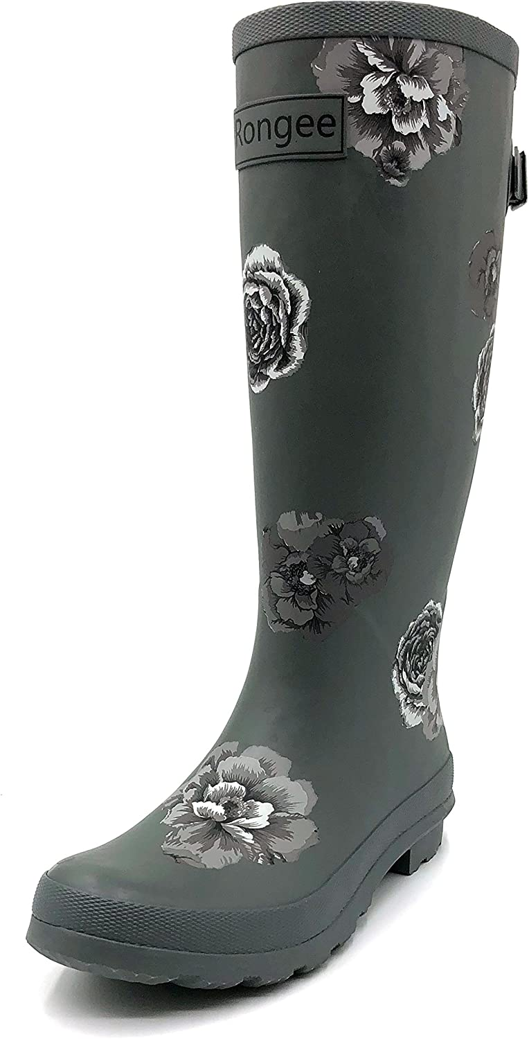 Rongee Women's Rubber Rain Boots Tall with Adjustable Buckle and Dust Bag Packed