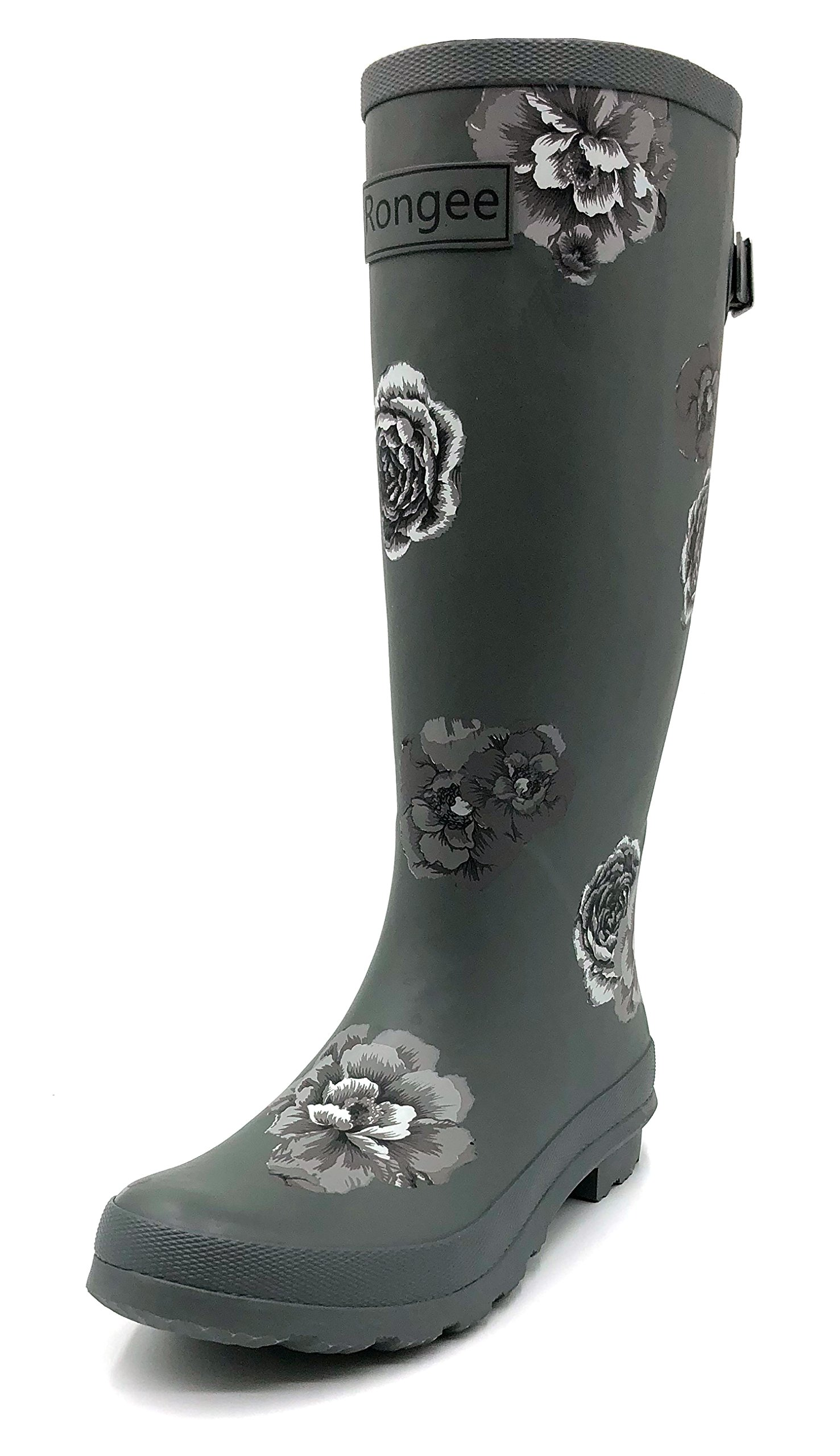 Rongee Ladies Rose Printed Tall Rubber Rain Boots for Women with Adjustable Gusset and Oxford Bag Packed (9 B(M) US)