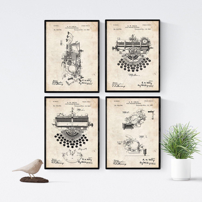 Nacnic Vintage - Pack de 4 Láminas con Patentes de Máquinas de Escribir. Set de Posters con inventos y Patentes Antiguas. Elije el Color Que Más te guste. Impreso en Papel de 250 Gramos