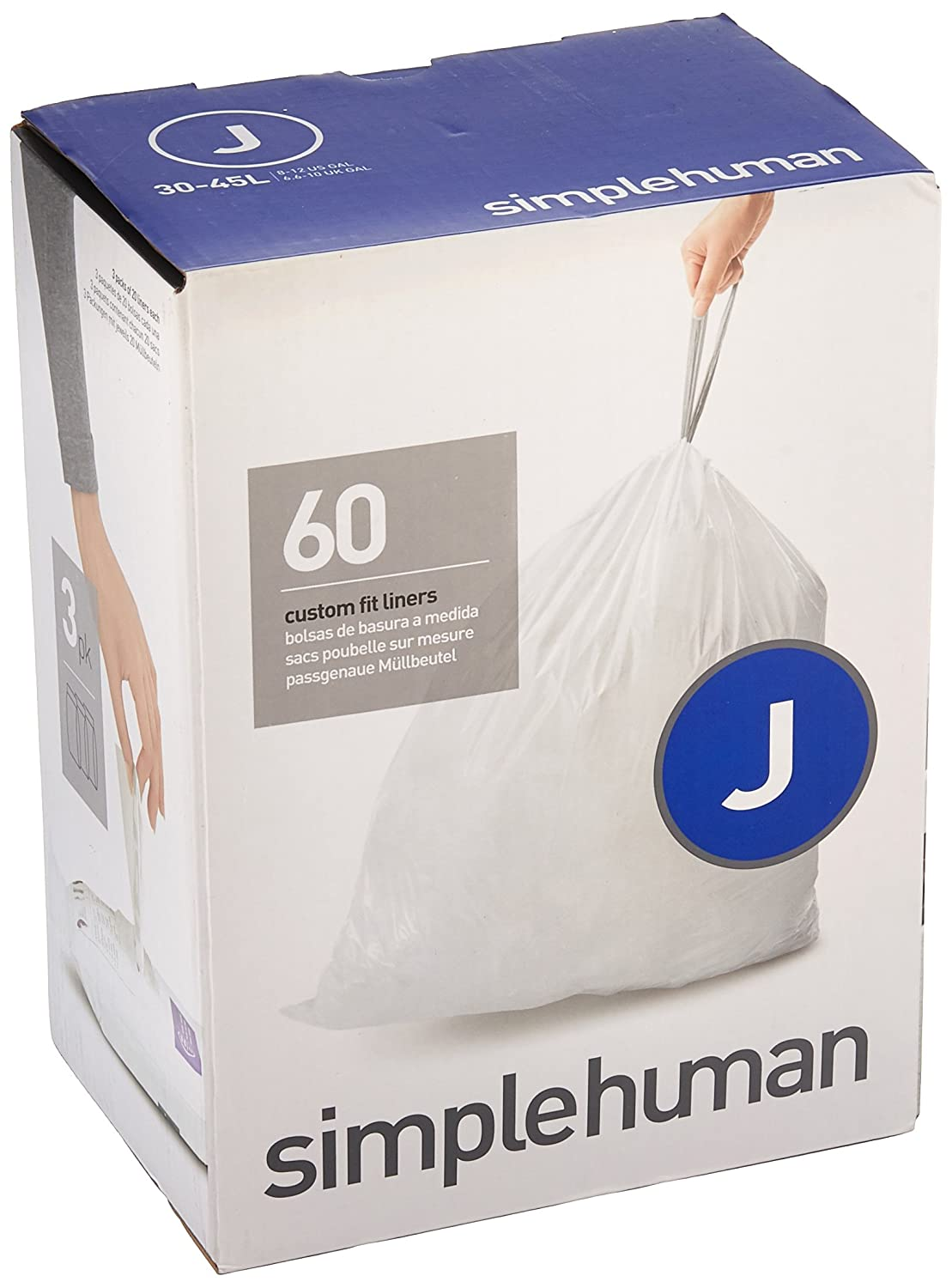 simplehuman Code D Custom Fit Trash Can Liner, 3 refill packs (60 Count), 20 Liter/5.2 Gallon