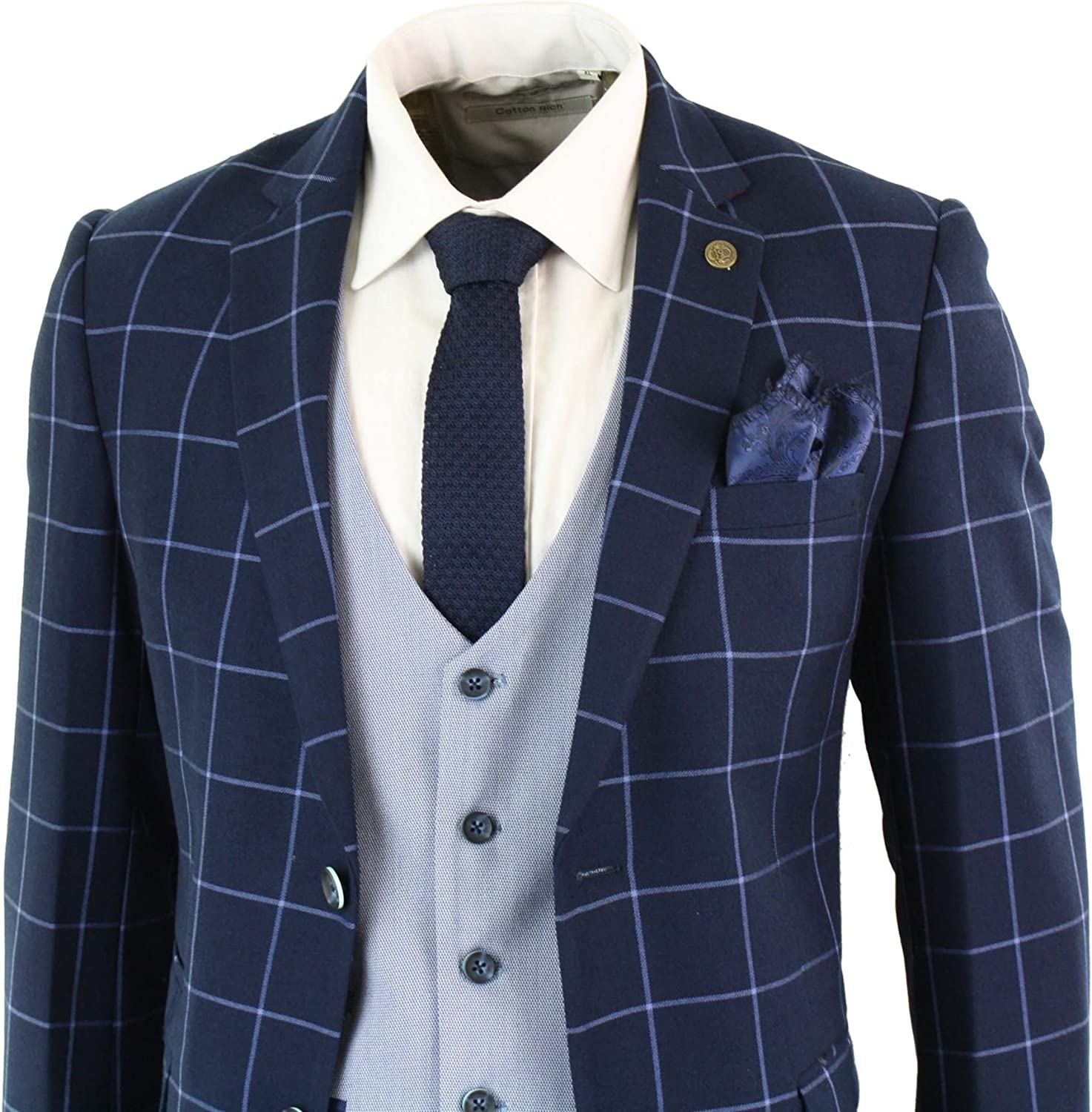 Mens Blue Navy 3 Piece Marc Darcy Suit Check Tailored Fit Complete Wedding Prom