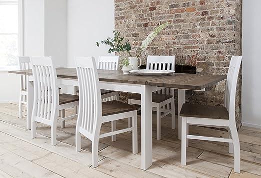 Hever Mesa de Comedor con 6 sillas en Color Blanco y Madera de ...