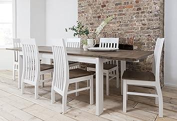 Hever Esstisch Mit 6 Stühlen In Weiß Und Dunkles Kiefernholz