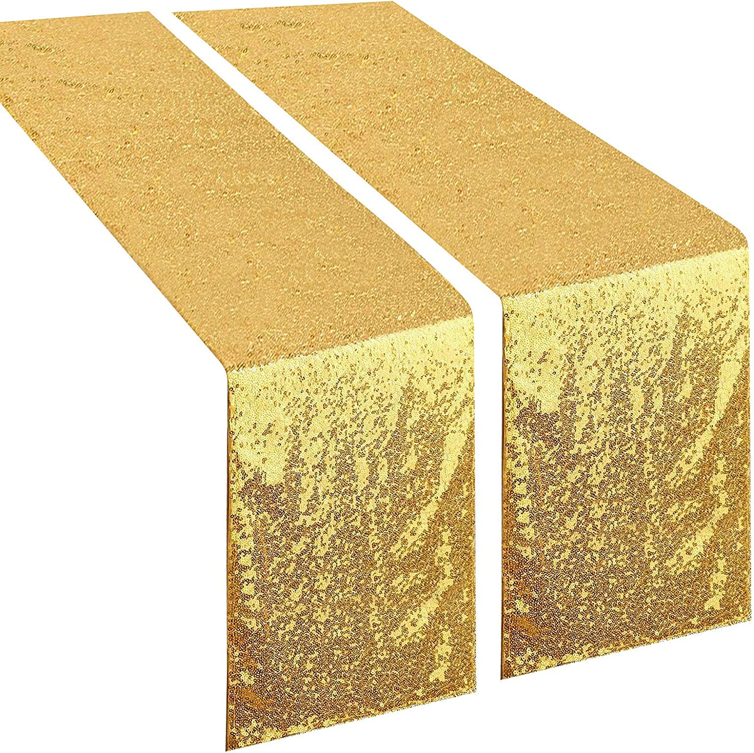 yuboo Gold Sequin Table Runners,2 Pack 12''x 108'' Sparkle Glamorous Tablecloth,Glitter Table Linens for Graduation,Birthday Party,Wedding,Bridal Baby Shower, Bachelorette Celebration,Christmas.