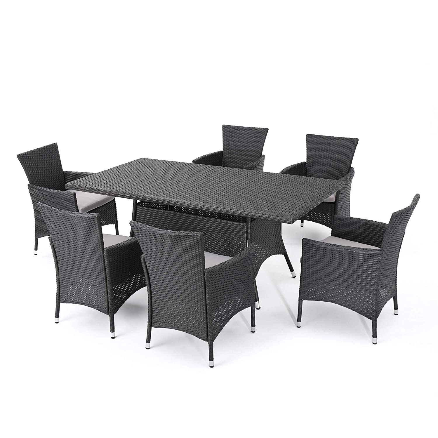 Christopher Knight Home Macalla 7-Piece Wicker Outdoor Dining Set Perfect for Patio in Grey