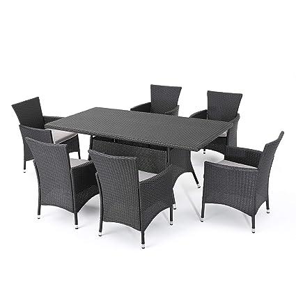 Amazon Com Gdf Studio Macalla 7 Piece Wicker Outdoor Dining Set