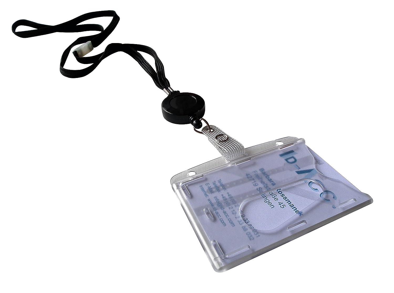 Pièces Cordons Tour De Cou Sécuritaire Noir Avec Zip Retractable - Porte badge tour de cou