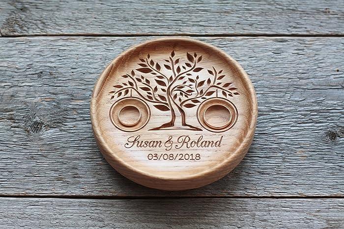Anillo de bodas con nombres grabados y fecha, Caja para alianzas, Almohada portador del