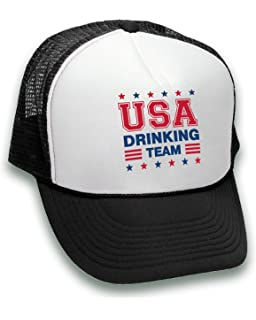 ad4a0841 Pekatees USA Drinking Team Trucker Hat Fourth of July Fun Hats Red White  and Blue Accessories