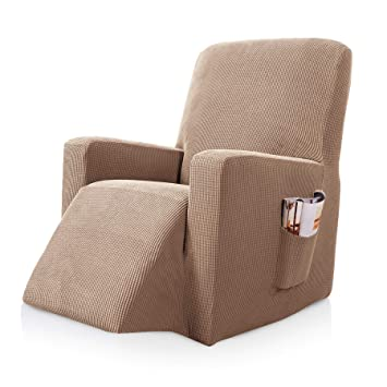 subrtex Stretch Recliner Chair Slipcover Furniture Protector Lazy Boy  Covers for Leather and Fabric Recliner Sofa with Side Pocket (Recliner,  Camel)