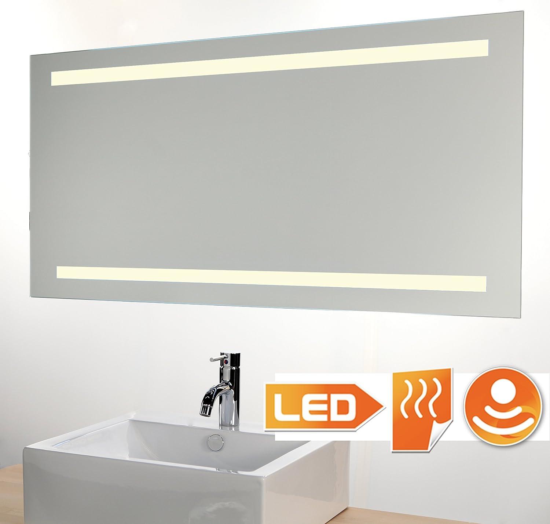 Badspiegel LED beleuchtet mit Sensor und Heizung 100 x 60 cm: Amazon ...