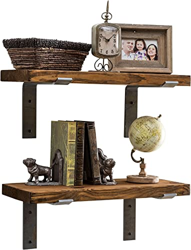 Industrial Shelves w Metal Brackets Set of 2 – del Hutson Designs, USA Handmade, Pine Wood 24 Inch 2 Ft, Dark Walnut