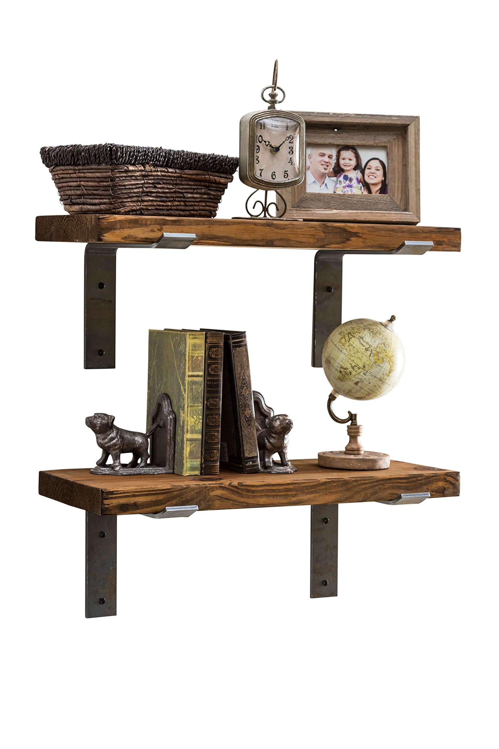 Industrial Shelves w/ Metal Brackets (Set of 2) - del Hutson Designs, USA Handmade, Pine Wood (24 Inch / 2 Ft, Dark Walnut)