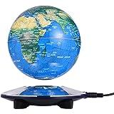 浮かぶ地球儀 磁気浮上 地球儀 浮遊・回転型の地球儀 浮く地球儀 自動回転 LEDライト 空中浮遊 (6inch,白)