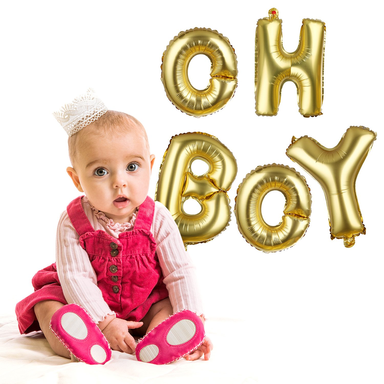 BBTO 2 Pack Oh and Boy Balloons Banners Alphabet Foil Letter Balloon Decoration with Gold Rope for Baby Shower Birthday Party Gender Reveal Party