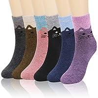 QKURT 6 pares de calcetines de lana para mujer, calcetines térmicos cálidos para mujer, calcetines de gato novedosos y…
