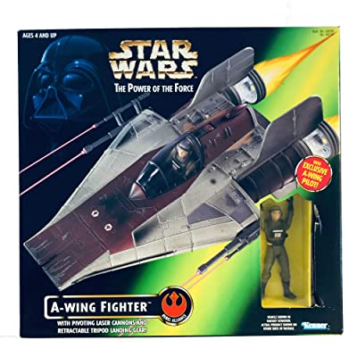Star Wars: Power of the Force A-Wing Fighter with Pilot Vehicle: Toys & Games